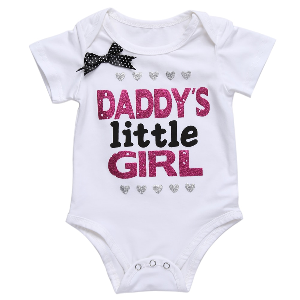 Baby Girl's Daddy's Little Girl Printed Summer Bodysuit Refuse You Lose color: Black|White
