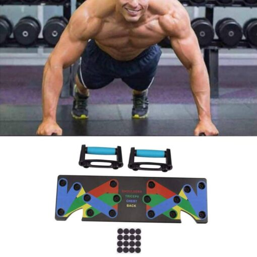 Multifunctional 9 in 1 Push Up Stand Workout At Home Workout Equipment 2020 New Deals Best Gifts of 2020 Best Gifts For Women in 2020 Best Gifts For Men in 2020 Gifts For Men Gifts For Women Sports & Jerseys Gym and Fitness Fitness Equipment color: Black Deep Blue White