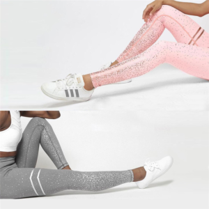 Glitter Decorated Fitness Women's Leggings Refuse You Lose color: Gray|Pink|White