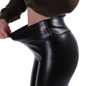 Leather Leggings for Women Refuse You Lose color: Black