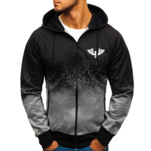 Men's Sport Gradient Hooded Jacket Refuse You Lose color: 02 Size: 3XL