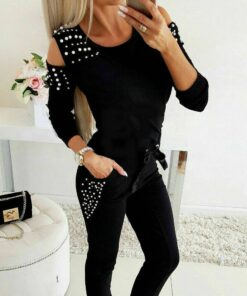 Sports Pearl Decorated Women's Tracksuits Workout At Home Workout at Home For Women 2020 New Deals Best Gifts For Women in 2020 For Women Gifts For Women Sportswear for Women Leggings and Pants For Women color: Black|Blue