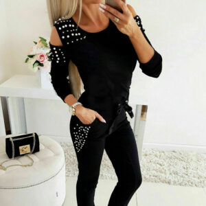 Sports Pearl Decorated Women's Tracksuits Refuse You Lose color: Black|Blue