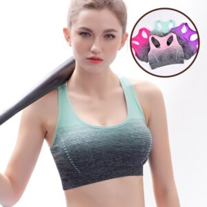 Women's Gradient Padded Sports Bra Refuse You Lose color: RoseRed|Violet|Pink|Green