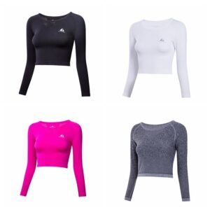 Women's Mesh Back Crop Sports Longsleeve Refuse You Lose color: Black Gray Rose Red White