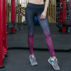 Women's Patterned Gradient Fitness Leggings Refuse You Lose color: Multi