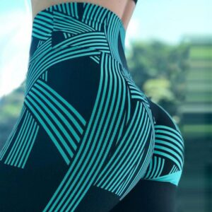 Women's Printed High Waist Sports Leggings Refuse You Lose color: Black|Blue