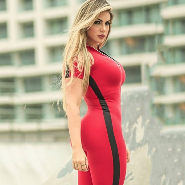 Women's Short Sleeve Sports Set with Zipper Refuse You Lose color: Black|Red|Deep Gray