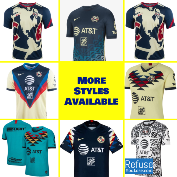 Club America Jersey For Men, Women, or Youth | Customizable color: 2021-2022 Road|2021-2022 Third|Pre-Match Training|2020-2021 Home|2020-2021 Road|2020-2021 Third|2019-2020 Home|2019-2020 Road|2019-2020 Third|2018-2019 Home|2018-2019 Road  Refuse You Lose